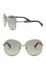 Lanvin 58mm Round with Metal and Acetate Sunglasse