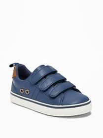 Triple-Strap Faux-Leather Sneakers For Toddler Boy