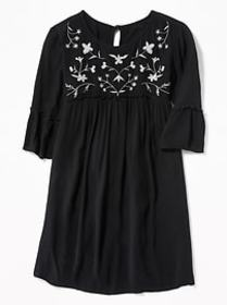 Embroidered-Yoke Crinkle-Crepe Dress for Girls