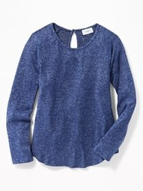 Plush-Knit Raglan-Sleeve A-Line Top for Girls