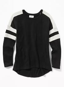 Relaxed Striped-Sleeve Scoop-Neck Top for Girls