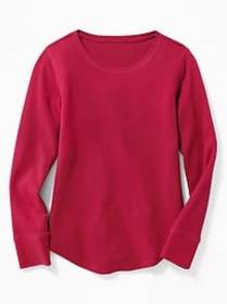 Solid Thermal Crew-Neck Tee for Girls