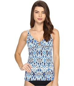 Tommy Bahama Ikat Over the Shoulder Tankini Top wi