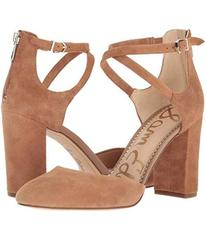 Sam Edelman Dark Golden Caramel Kid Suede Leather