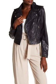 LAMARQUE Washed Genuine Lambskin Leather Crop Moto