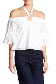 Romeo & Juliet Couture Off-the-Shoulder Eyelet Kni