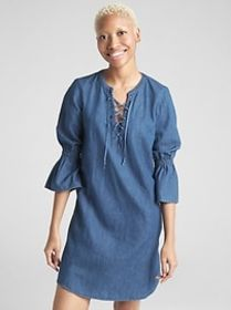 Bell-Sleeve Lace-Up Denim Dress
