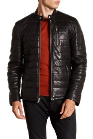 LAMARQUE Quilted Center Front Leather Moto Jacket