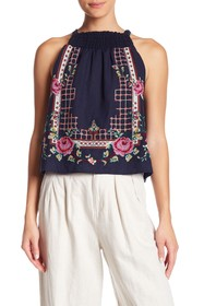 Free People Honey Pie Embroidered Tank
