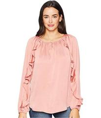CHAPS Hammered Satin Long Sleeve Blouse