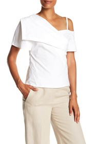 Theory Cold Shoulder Woven Blouse
