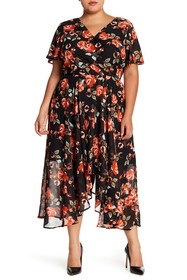 Sharagano Floral Mock Wrap Dress (Plus Size)