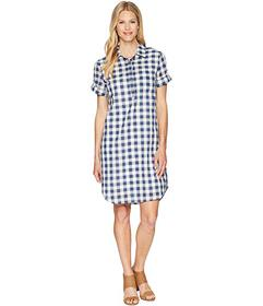 Tribal Gingham Shirtdress with Pocket and Roll Up