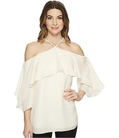 Halston Heritage Flutter Sleeve Cold Shoulder High