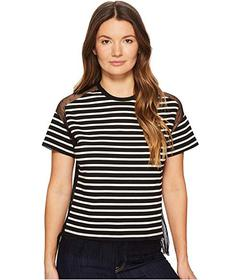 RED VALENTINO Striped T-Shirt with Point D'Es