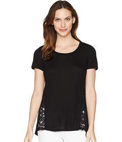 Tribal Knit Jersey Short Sleeve Top with Lace Trim