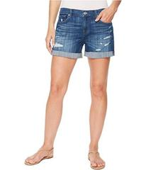7 For All Mankind Mid Roll Shorts w/ Destroy in Br