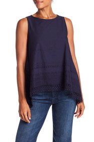 Max Studio Eyelet Embroidered Tank Top