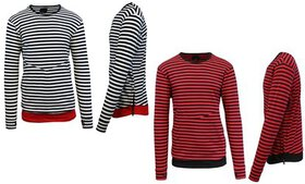 Men's Striped Long-Sleeve Pullover with Side Zippe