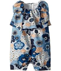 Chloe Poplin Flower Print Knot On Shoulders Romper