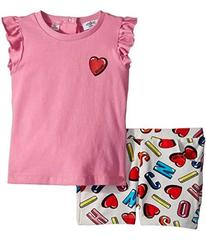 Moschino Logo Heart Graphic T-Shirt & Shorts Set (