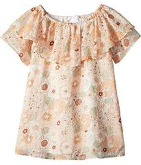 Chloe Flower Print Ruffle Dress (Toddler/Little Ki