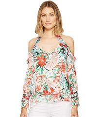XOXO Printed Off the Shoulder Ruffle Top