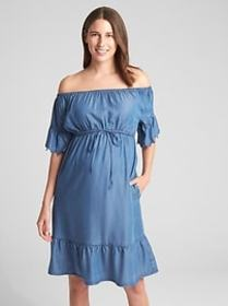 Maternity Off-Shoulder Tiered Dress in TENCEL&#153