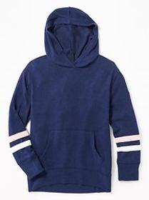 Plush-Knit Sleeve-Stripe Pullover Hoodie for Girls