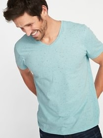 Soft-Washed Textured Neps V-Neck Tee for Men