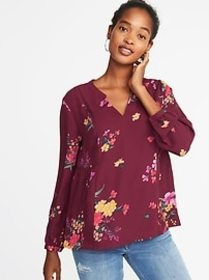 Floral-Print Georgette Swing Blouse for Women