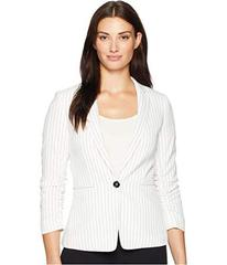Tahari by ASL Pinstripe Ruched Sleeve One-Button J
