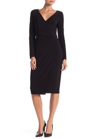 London Times Long Sleeve Ruched Midi Dress
