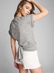 Short Sleeve Split-Neck Wrap Top in French Terry