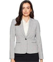 Tahari by ASL One-Button Plaid Long Sleeve Jacket