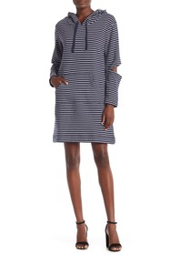Vince Camuto Striped Split Elbow Hooded Dress