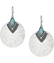 GUESS Filigree Disc with Stone Drop Earrings