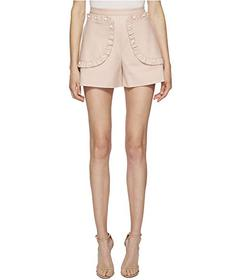 RED VALENTINO Stretch Cotton Shorts with Ruffle Po
