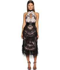 Marchesa Tea Length Cocktail with Corded Lace and