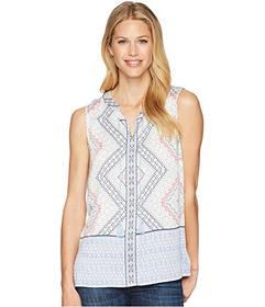 Tribal Printed Sleeveless Blouse with Tassels