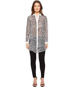 Versace Jeans Couture Sheer Button Up Animal Tunic