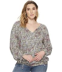 Lucky Brand Plus Size Banded Bottom Peasant Top