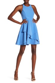 Nicole Miller Tiered Skirt Fit & Flare Dress