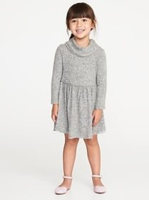 Fit & Flare Plush-Knit Cowl-Neck Dress for Toddler