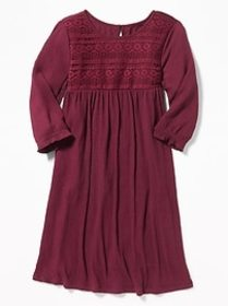 Crinkle-Jersey Lace-Trim Swing Dress for Girls