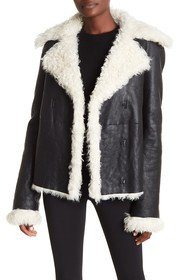 Theory Genuine Lamb Fur Lined Leather Peacoat