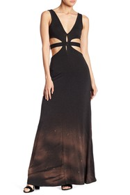 Go Couture Cutout Washed Maxi Dress