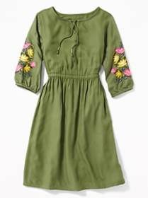 Embroidered-Sleeve Waist-Defined Midi Dress for Gi