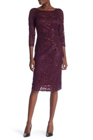 Marina 3/4 Sleeve Sequin Dress
