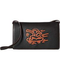 COACH Keith Haring Leather Fold-Over Clutch Crossb